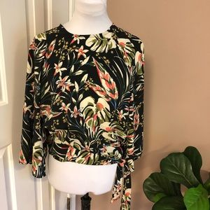 Nordstrom Code X Mode l Black Floral Top